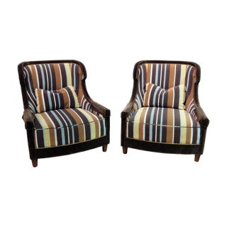 Late 20th Century Vintage Baker Wingback Chairs - A Pair For Sale