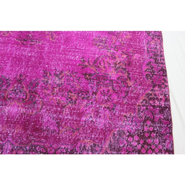 """6'4"""" X 10' Turkish Pink Overdyed Rug For Sale - Image 5 of 10"""