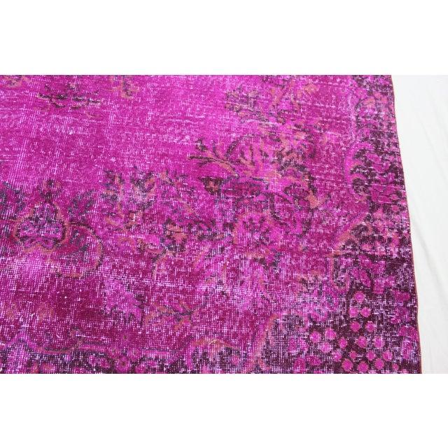 "6'4"" X 10' Turkish Pink Overdyed Rug - Image 5 of 10"