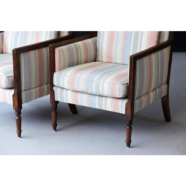 Pair of Italian Neoclassical Style Bergères in Pastel Striped Moiré Taffeta For Sale - Image 4 of 10