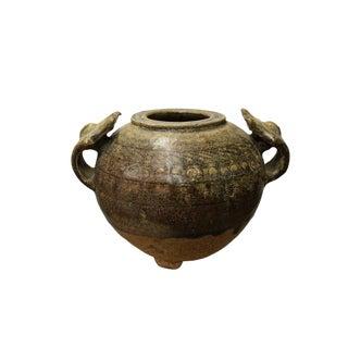 Chinese Handmade Ceramic Brown Black Scroll Motif Jar Vase For Sale