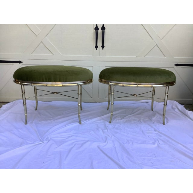 Brass Mastercraft Faux Bamboo Brass Stools, a Pair For Sale - Image 8 of 10