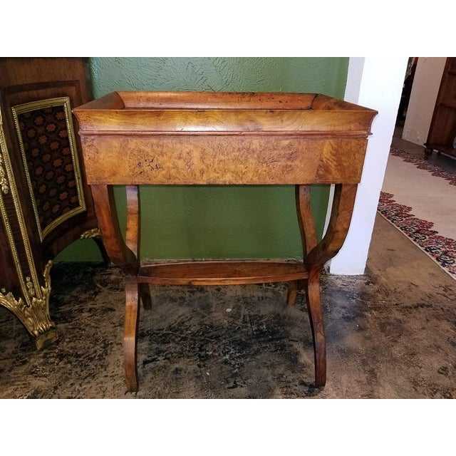 French 18c French Provincial Burl Walnut Lyre Work Table For Sale - Image 3 of 13