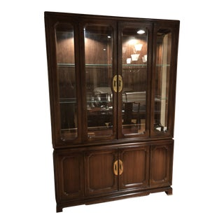 1970s Asian American of Martinsville China Cabinet With Brass Handles For Sale