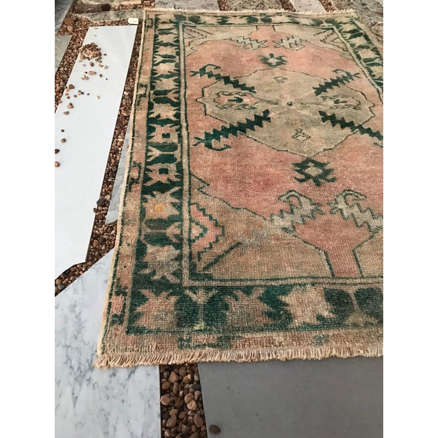 """Hand Made Vintage Tribal Turkish Runner Rug With Greens and Peach 2'9""""x4'2"""" For Sale - Image 6 of 10"""
