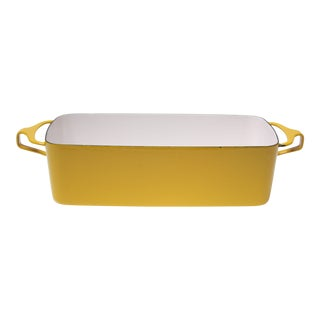 Vintage Dansk Kobenstyle Enamel Loaf Pan in Yellow For Sale