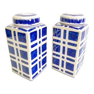 Pair of Blue & White Square Plaid Ceramic Ginger Jars With Round Lids For Sale