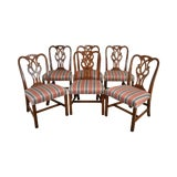 Image of Baker Mahogany Chippendale Style Set 6 Dining Chairs For Sale