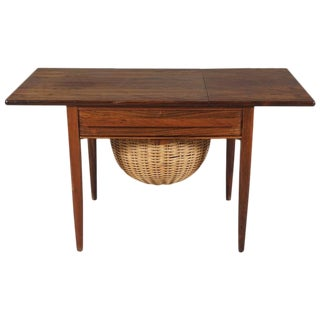 Danish Modern Drop-Leaf Rosewood Sewing Table with Basket