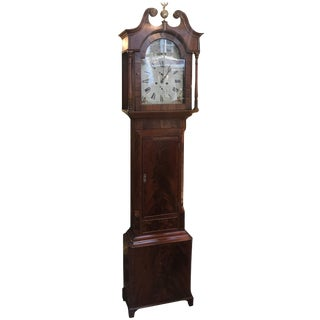 19th Century George III Mahogany Tall Case Clock For Sale
