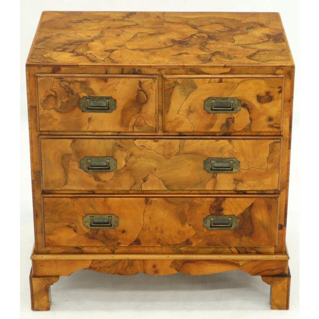 Campaign Style Patch Burl Olive Wood Small Bachelor Chest Dresser Cabinet For Sale - Image 13 of 13