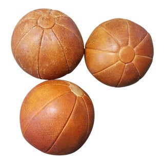 Leather Vintage German Medicine Balls, 1950s - Set of 3 For Sale