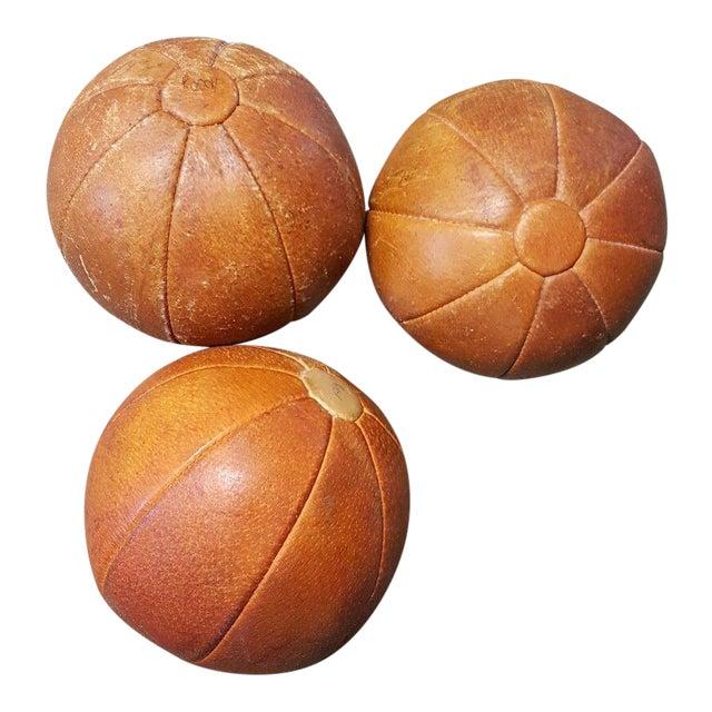 Leather Vintage German Medicine Balls, 1950s - Set of 3 For Sale