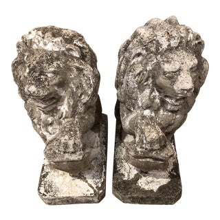 Cast Stone Garden Lions - a Pair For Sale