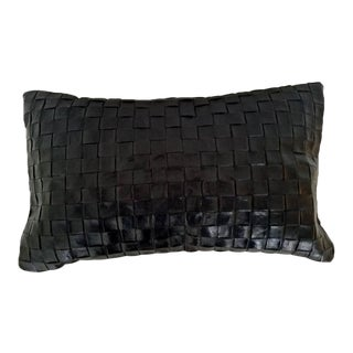 Contemporary Woven Leather Lumbar Pillow For Sale