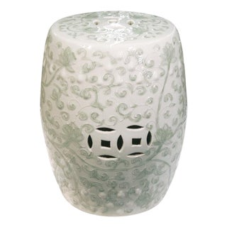 Chinese Twisted Lotus Motif Celadon Garden Stool For Sale