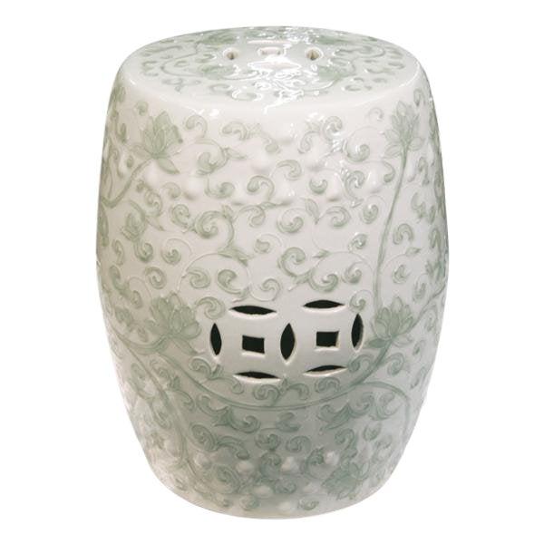 Chinese Twisted Lotus Motif Celadon Garden Stool For Sale