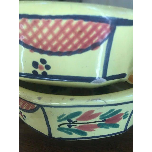 Ceramic Vintage French Hand Painted HB Quimper Soleil Dish Set - 6 Piece Set For Sale - Image 7 of 10