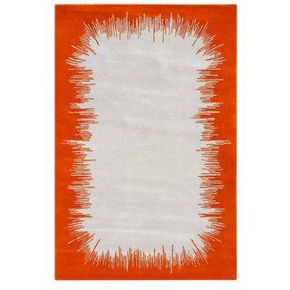 Hand Tufted Nz Wool Ikat Mandarin Rug - 6′7″ × 9′10″ For Sale