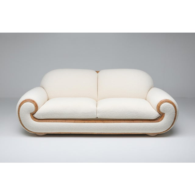 Vivai Del Sud Sofa in Bouclé Wool and Rattan For Sale - Image 6 of 12
