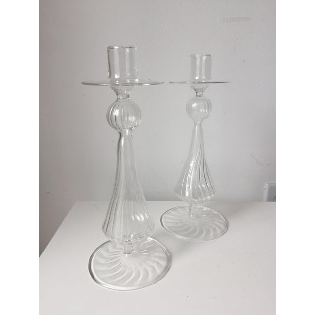 Murano Hand-Blown Glass Candlesticks For Sale - Image 4 of 10
