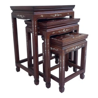 Vintage Set of 3 Asian Rosewood and Mother of Pearl Nesting Tables For Sale