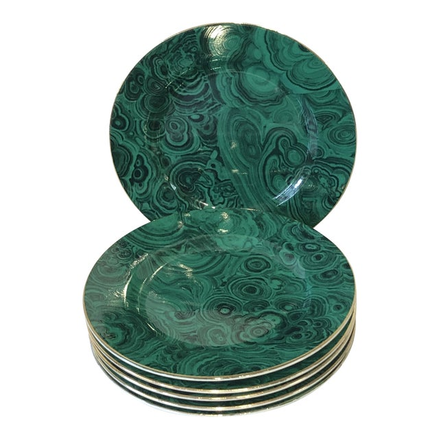Green Faux Malachite Small Plates - Set of 6 For Sale