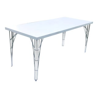 Vintage Italian White Lacquered Dining Table For Sale