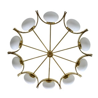 Italian Modern Round Brass and Ten Opaline Glass Globe Chandelier For Sale