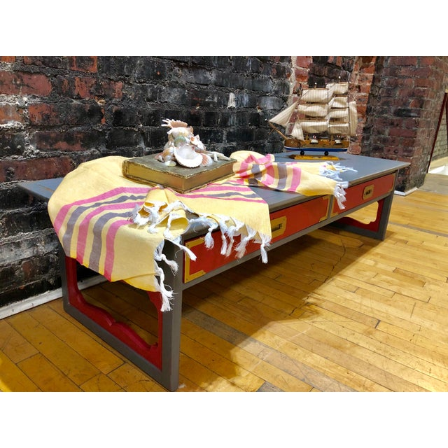 Boho Chic 1960s Contemporary Gray & Coral Coffee Table For Sale - Image 3 of 10