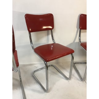 Mid Century Tubular Chrome Red Lloyd Dining Chairs - Set of 4 Preview