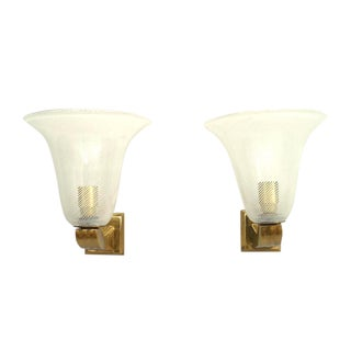 Italian 1940s Bell Shaped Wall Sconces - a Pair For Sale