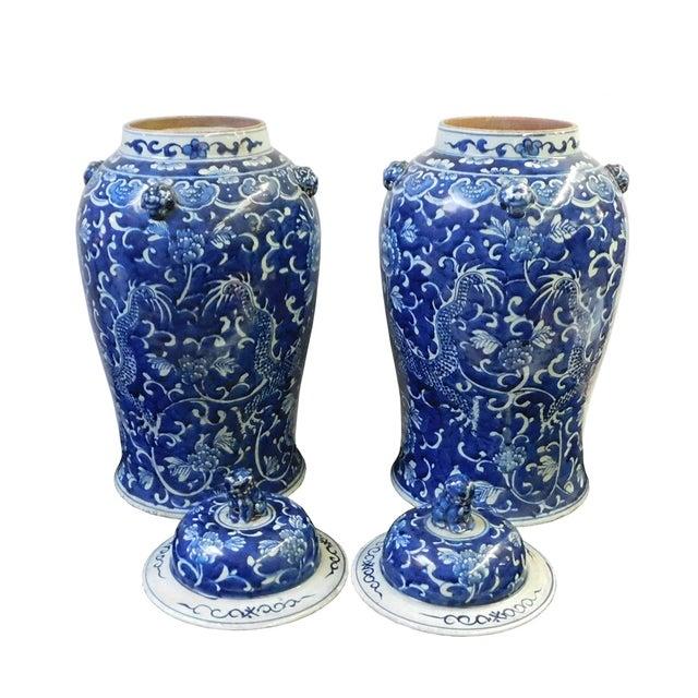 Chinese Blue & White Dragon Porcelain Jars - Pair - Image 4 of 6