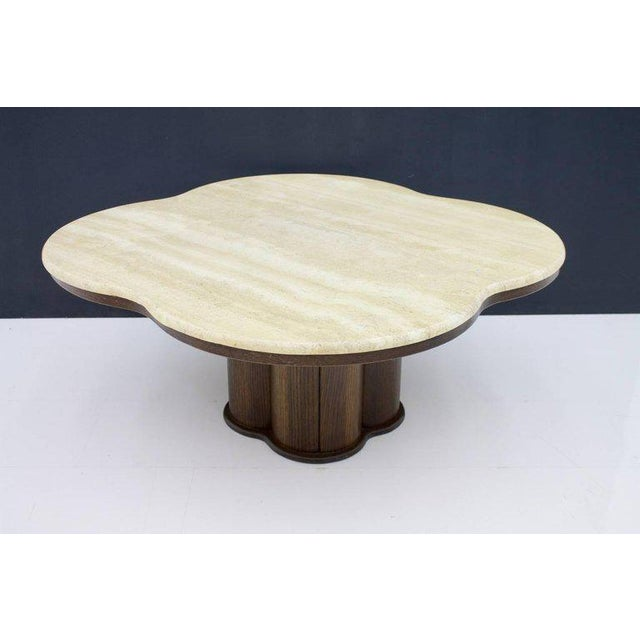 Travertine Cloud Coffee Table With Wood Base, 1970s For Sale - Image 10 of 10