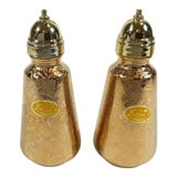 Image of Lotus 22 Karat Gold Salt and Pepper Shakers - A Pair For Sale