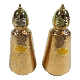 Lotus 22 Karat Gold Salt and Pepper Shakers - A Pair For Sale