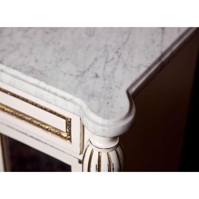 French White Painted Marble-Top Cabinets by Jansen - Pair For Sale - Image 3 of 9