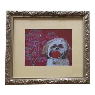 ShihTzu Dog Print by Judy Henn Framed in Silver For Sale