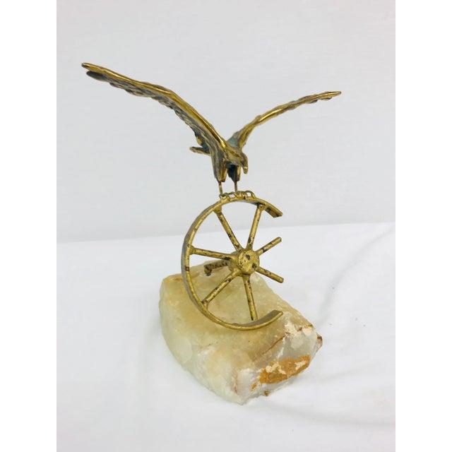 Brass Eagle on Wheel Quartz Statuette For Sale In Greensboro - Image 6 of 12