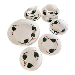 """Vintage """"Stanhome Ivy"""" by Blue Ridge Southern Potteries & Canonsburg Pottery Dinnerware Set– 4-Place Settings - Set of 30 For Sale"""