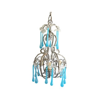 Antique Crystal Chandelier With Blue Drops For Sale