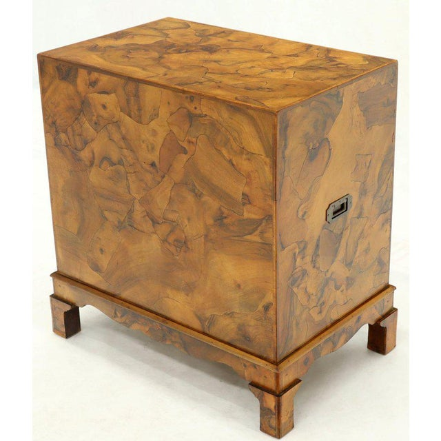 Campaign Campaign Style Patch Burl Olive Wood Small Bachelor Chest Dresser Cabinet For Sale - Image 3 of 13