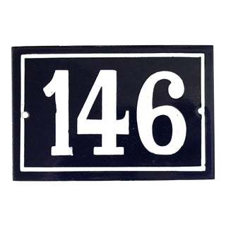Mid 20th Century Vintage French Enamel House Number Plaque 146 For Sale
