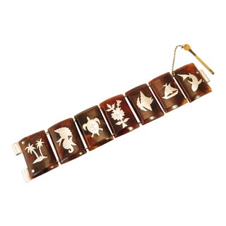 Mid-Century Modern Inlaid Carved Shell Bracelet, South Pacific 1950s For Sale