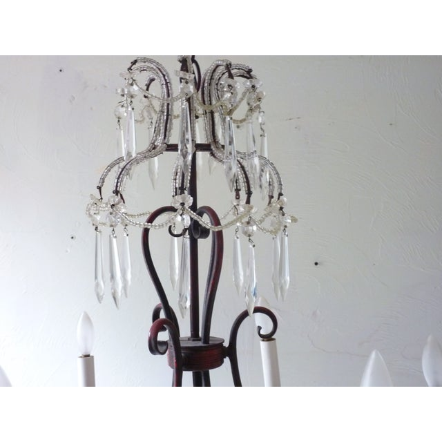 French Tole & Crystal Chandelier For Sale - Image 5 of 11