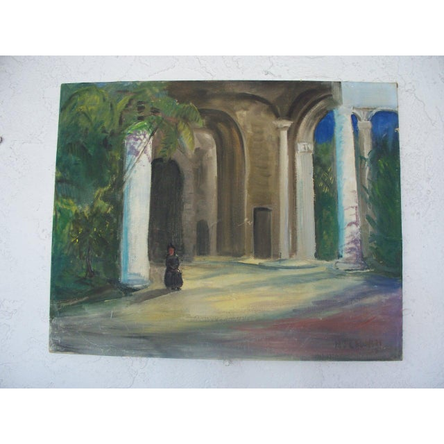Contemporary Dark Figure by a Church in Havana Signed Oil Painting - Image 2 of 6