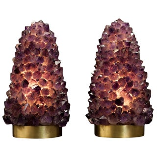 Pair of Natural Amethyst Table Lamps, Signed by Demian Quincke For Sale