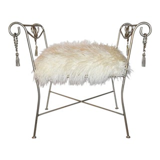 Trompe L'Oeil Neoclassical Bagues Cerule Style Louis XVI Style Iron Rope and Tassel Boudoir Bench For Sale