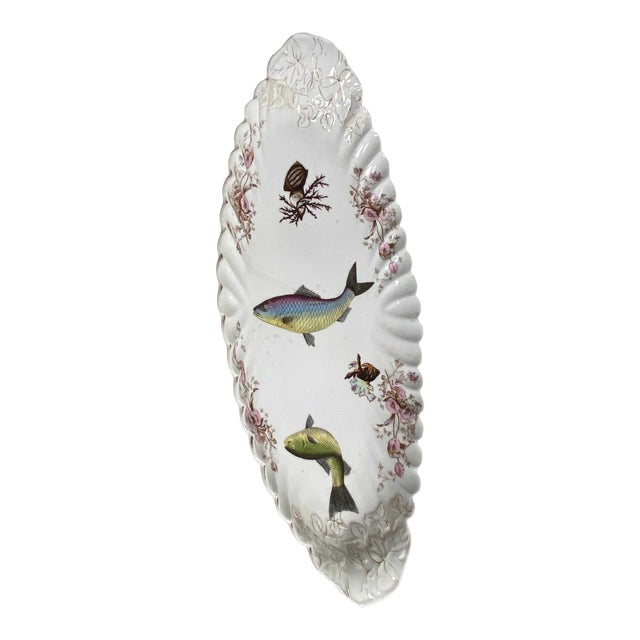 Antique Limoges Style Fish Platter For Sale