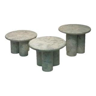 Set of Three Italian Resin Marble Tables For Sale